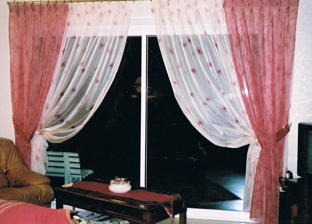 voilage doublé, facon rideaux, tête à plis double