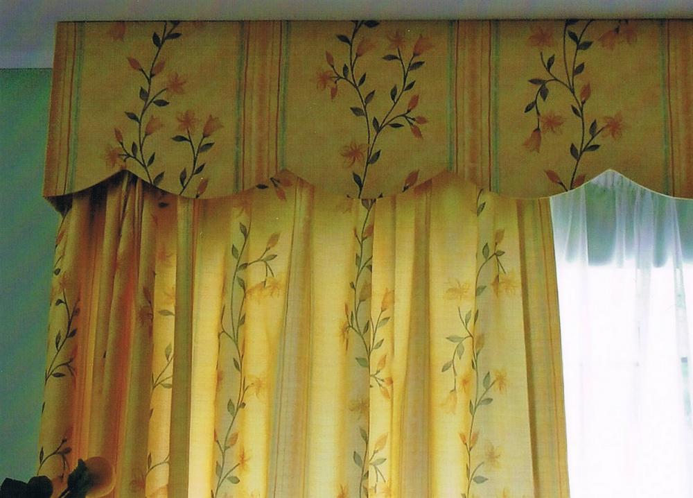 confection de double-rideaux à tête flamande, plis double et cantonniere