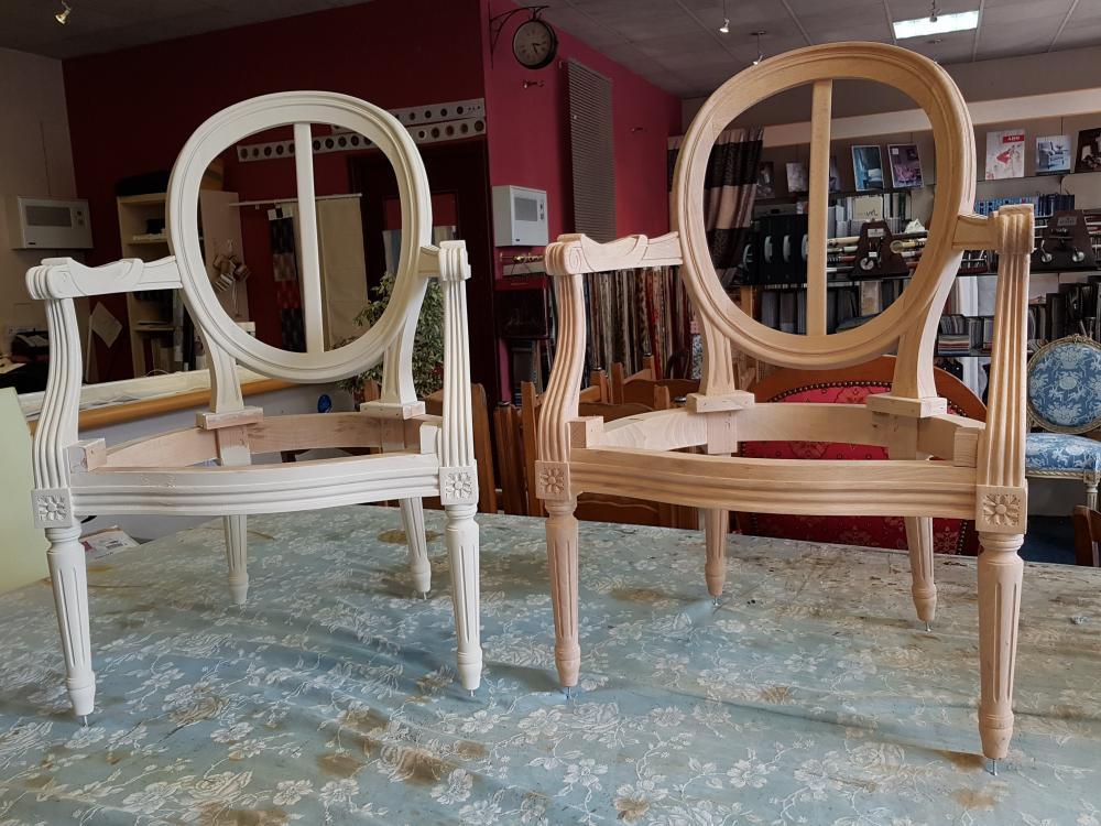 fabrication fauteuil louis XVI traditionnel tapissier decorateur ollivier treguier lannion paimpol perros-guirec cotes d'armor