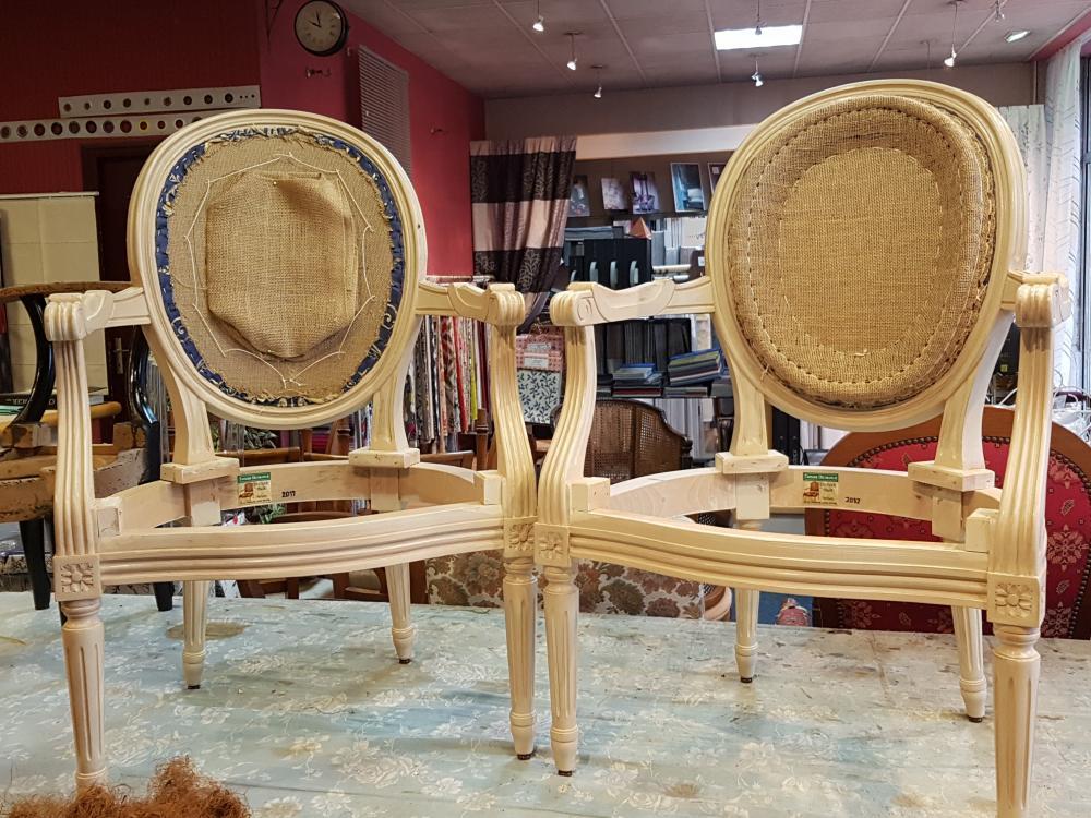 fauteuil fabrication fauteuil louis XVI traditionnel tapissier decorateur ollivier treguier lannion paimpol perros-guirec cotes d'armor